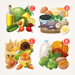 Groups of products reach in different vitamins and minerals. Vector illustrations
