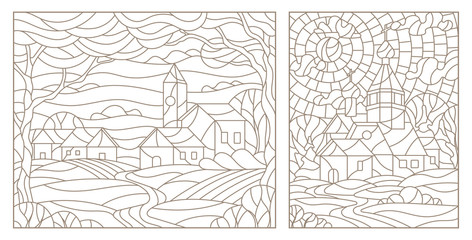 Set contour illustrations of stained glass from countryside provincial town and Church, dark contours on white background