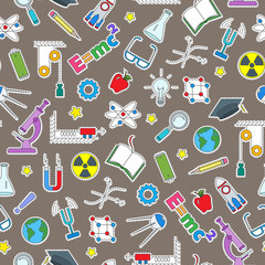Seamless pattern on the theme of the subject of physics education, simple colored patch icons on brown background