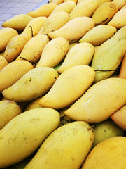 Fresh yellow manggoes display in the market stall.
