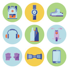 Vector Illustration. Equipment for summer relax. Set of sneakers, cap, phone, gloves, backpack, ball, t-shirt, bottle for water on green - blue - yellow circles