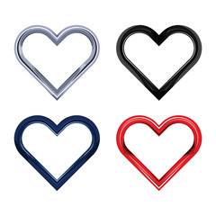 Heart chrome object set vector