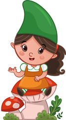 A girl gnome sitting on a mushroom and talking. (Vector illustration)