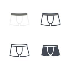 Men panties underwear clothes flat colored line silhouette