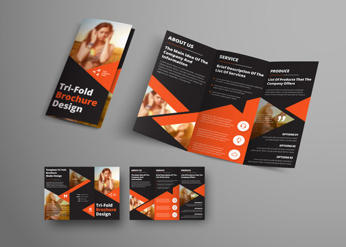 Design of a vector tri-fold brochure with orange triangular elements and place for a photo.