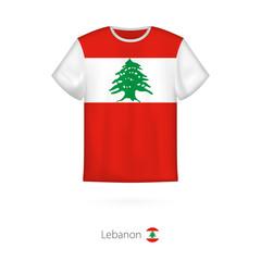 T-shirt design with flag of Lebanon.