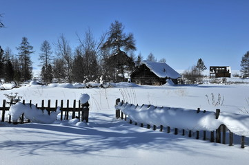 Russia. Snow-covered village on Lake Baikal