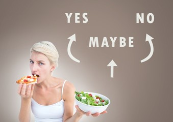 Woman eating deciding healthy food over unhealthy food with Yes