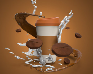 coffe bean milk 3d