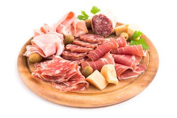 Foto op Canvas Voorgerecht Tagliere di salumi, prosciutti e formaggio, Italian Appetizers
