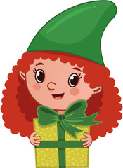 The girl elf holding a gift package. (Vector illustration)
