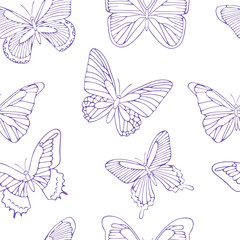 Seamless background with purple butterflies. Hand drawn pattern.Vector illustration. Outline drawing. Pattern for paper products or fabrics.