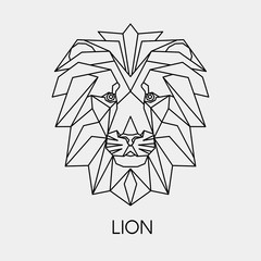 Vector illustration. Abstract polygon the head of a lion. Geometric line African animal.