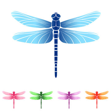 Vector illustration. Set of beautiful colorful dragonflies. Isolated.