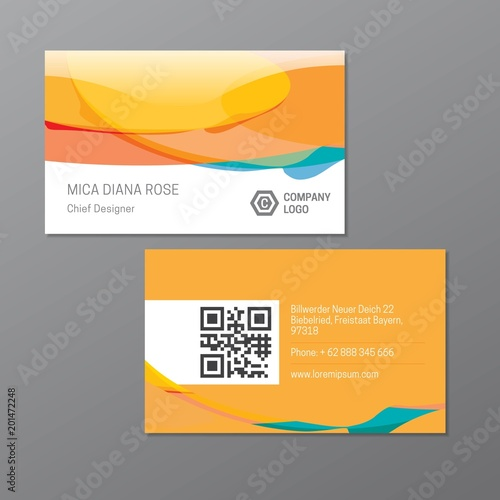 Yellow Name Card Or Business Card Template With Qr Code Elegant And