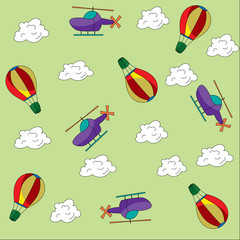 Helicopter and balloon in the clouds pattern