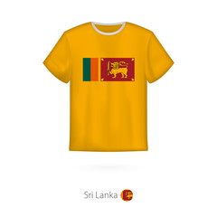 T-shirt design with flag of Sri Lanka.