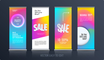 Sale banner. Abstract business vector of roll up stand design with colourful background for, show, expo, shopping.