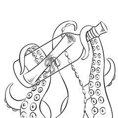 Octopus and message in bottle coloring book vector