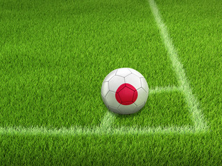 Soccer football with Japanese flag. Image with clipping path