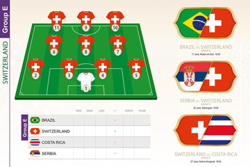 Switzerland football team infographic for football tournament.