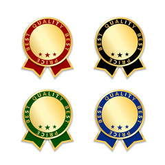Ribbon award best price labels set. Gold ribbons award icon isolated white background. Best quality golden label for badge, medal, best choice, price, guarantee product. Vector illustration