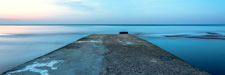 Fototapete - panorama of horizontal line with clod blue color calm sea