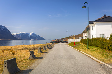 Beautiful street with holiday houses at fiords in Norway