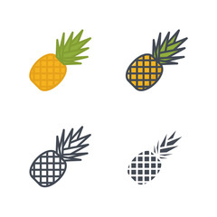 Pineapple food icon vector flat solid silhouette line