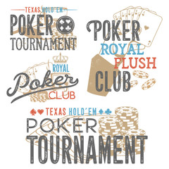 Vintage set of poker designs for print on T-shirts, printed products and publications on the Internet. Vector illustration