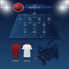 Team Morocco soccer jersey or football kit with match formation tactic infographic. Football player position on football pitch and stadium map. Vector Illustration.