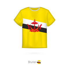 T-shirt design with flag of Brunei.