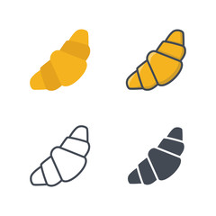 Croissant bakery food icon vector colored silhouette flat line