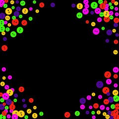 Vector Confetti Background Pattern. Element of design. Colored buttons on a black background