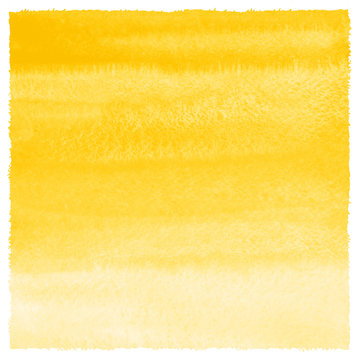 Yellow watercolor square background with gradient stains and rough, artistic edges. Watercolour texture. Hand drawn abstract aquarelle fill. Template for cards, banners, posters.