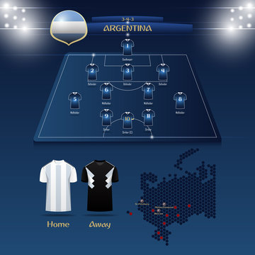 Team Argentina soccer jersey or football kit with match formation tactic infographic. Football player position on football pitch and stadium map. Vector Illustration.