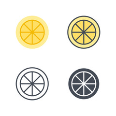 Lemon slice fruit food icon vector flat silhouette line colored