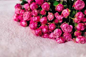 Close-up of a large bouquet of beautiful pink roses