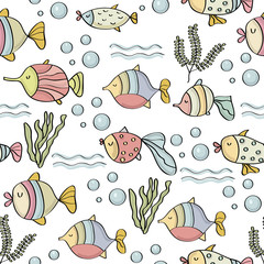 doodle seamless pattern with fishes