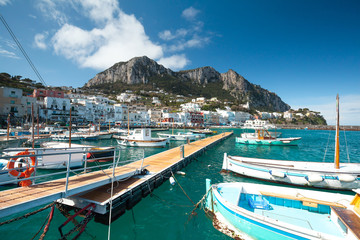 Capri skyline from luxury yachts dock side
