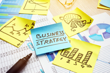 Business strategy and financial graphs and charts.