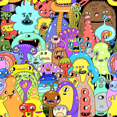 watercolor cartoon monster seamless pattern illustration. Funny colorful background