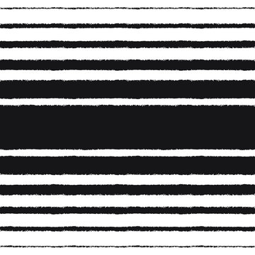 Black stripes, streaks, bars of different width on white background. Vector seamless repeat pattern. Brush or chalk drawn - rough, artistic edges. Striped monochrome texture with space for text.