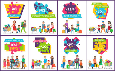 Best Sale, Exclusive Products Vector Illustration