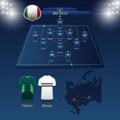 Team Mexico soccer jersey or football kit with match formation tactic infographic. Football player position on football pitch and stadium map. Vector Illustration.