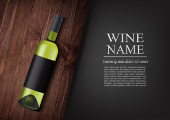 Advertising banner.A realistic bottle of white wine with black label in photorealistic style on wooden dark board,black background like chalk board,text.Wine presentation brochure.Vector illustration