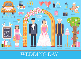 Flat wedding illustration thin line icon set. Vector happy marriage concept background