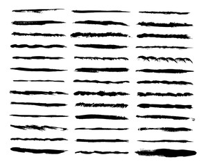 Big set of vector lines. Wave, straight, patterns black strokes. Hand painted design elements. Ink brush drawing
