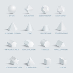 Sphere and Geometric Shapes on Vector Illustration