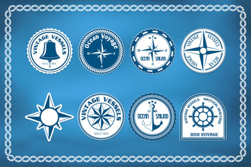 Set of nautical and marine badges and signs